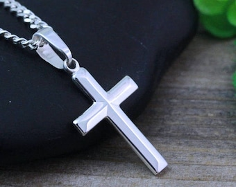 Boys cross necklace etsy sterling silver cross necklace small mozeypictures Choice Image
