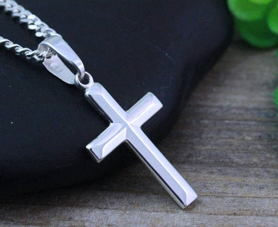 Sterling silver cross necklace small cross cross pendant sterling silver cross necklace small cross cross pendant necklace choose italian chain cross jewelry r 5141 aloadofball Image collections