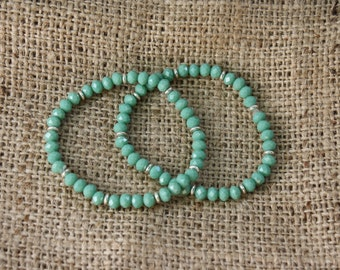 Turquoise Crystal Stretch Bangle