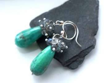 faceted labradorite and bright green chrysoprase earrings