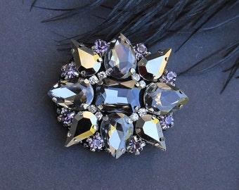 Gray Brooch, Swarovski Crystal, Large Rhinestone Brooch, Gray Broach Vintage Style, Handmade Jewelry