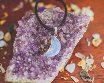 Crescent Moon Necklace - Opalite Necklace - Wicca Necklace - Gemstone Necklace - Boho Necklace - Moon Gemstone Necklace
