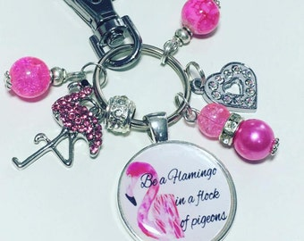Flamingo keyring, flamingo keychain, Be a flamingo in a flock of pigeons