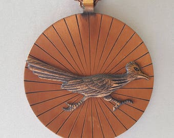 Vintage Copper Pendant Necklace, Solid Copper Roadrunner Pendant on Copper Chain Link Necklace, Minimalist Copper Roadrunner