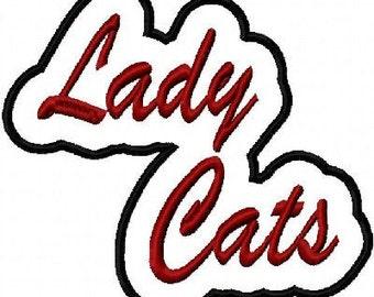 Lady Cats Embroidery Machine Applique Design 2464