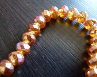 10 round flattened 8 x 6mm Orange swarovski crystal pink