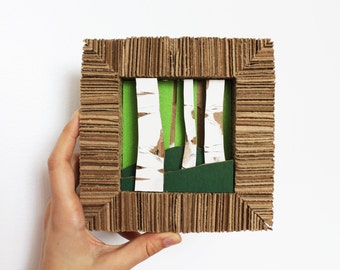 Cardboard Shadow Box Art Summer Birch Forest / Lush Green Grass / Upcycled Eco-friendly Home Decor Wall Hanging / Original OOAK