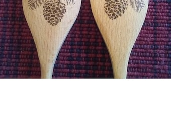 Pinecone Pyrography wood burned Wooden Spoon