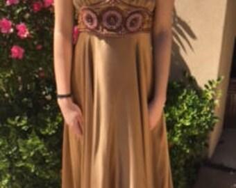 Vintage Betsey Johnson Beaded Bronze Slip Dress Size 4