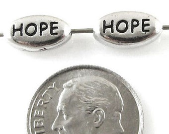 TierraCast Pewter Oval Word Beads-SILVER HOPE (2)