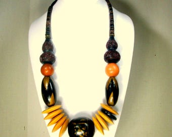 Tribal Big Bead Necklace, Cinnabar, Wood, Penshell, Brass, Recycled Ecochic, Grand Entrance, OOAK Rachelle Starr