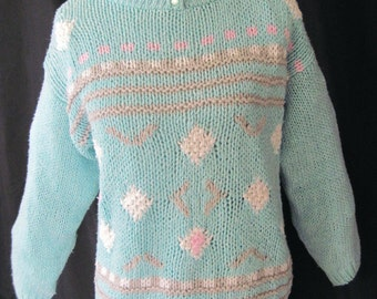 Sweater, mint green sweater, pullover sweater, vintage 80's sweater, Cottage Chic sweater