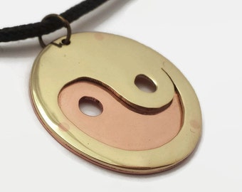 Yin & Yang Pendant Necklace in Brass and Copper on Black Cord Choker - Spiritual jewelry for taoists and lovers of balance