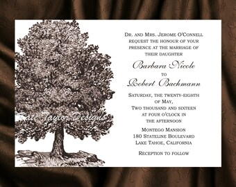 Oak Tree Wedding Invitation & RSVP  Tree Wedding Invitations  Oak Tree Wedding Invitation - Tree Design 60