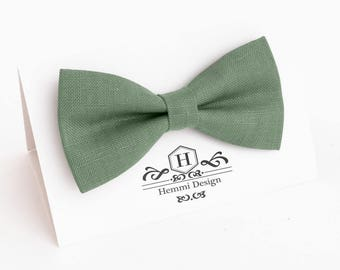Sage Green Bow Tie For Wedding / Bow Tie For Groomsmen / Green Pocket Square With Necktie / Green Men's tie / Green Bow Bow Tie For Men