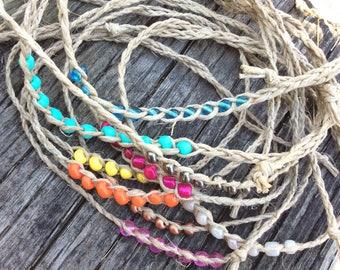 Wish Friendship Anklets and Bracelets - hemp - eco friendly - tie on - biodegradable / boho anklet/ boho jewelry / hemp anklet/ summer