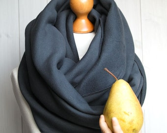 CHUNKY Infinity Scarf, winter infinity scarf, CHARCOAL knitted jersey infinity scarf, tube scarf, hooded scarf