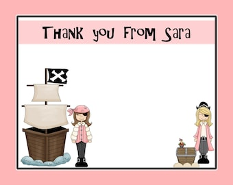 20 Personalized Pink Pirate Party Thank You Cards