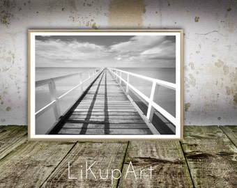 Pier One, Pier Print, Pier Wall Art, Wall Print, Modern Beach Print, Black White Decor, Ocean Wall Art, Water Sand Pier Poles, Printable Art
