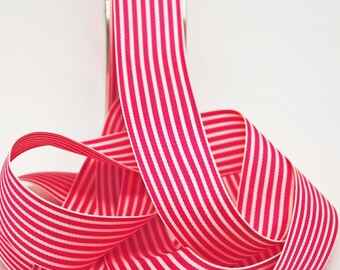 Striped Grosgrain Ribbon -- 1.5 inches -- Raspberry Cream