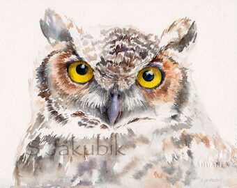Owl Watercolor Painting, Great Horned Owl giclee print