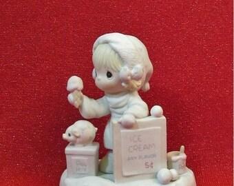 SALE Precious Moments Figurine 1987  Wishing you a Yummy Christmas  Enesco 109754