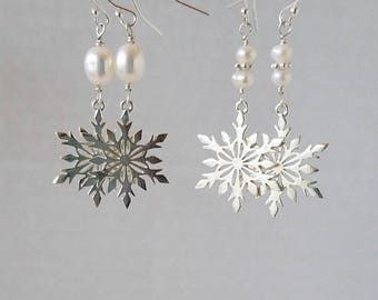 Sterling Silver Snowflakes and White Pearl Dangle Earrings