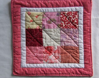 Pink and White Quilted Coaster Mug Rug or Mini Quilt One of a Kind