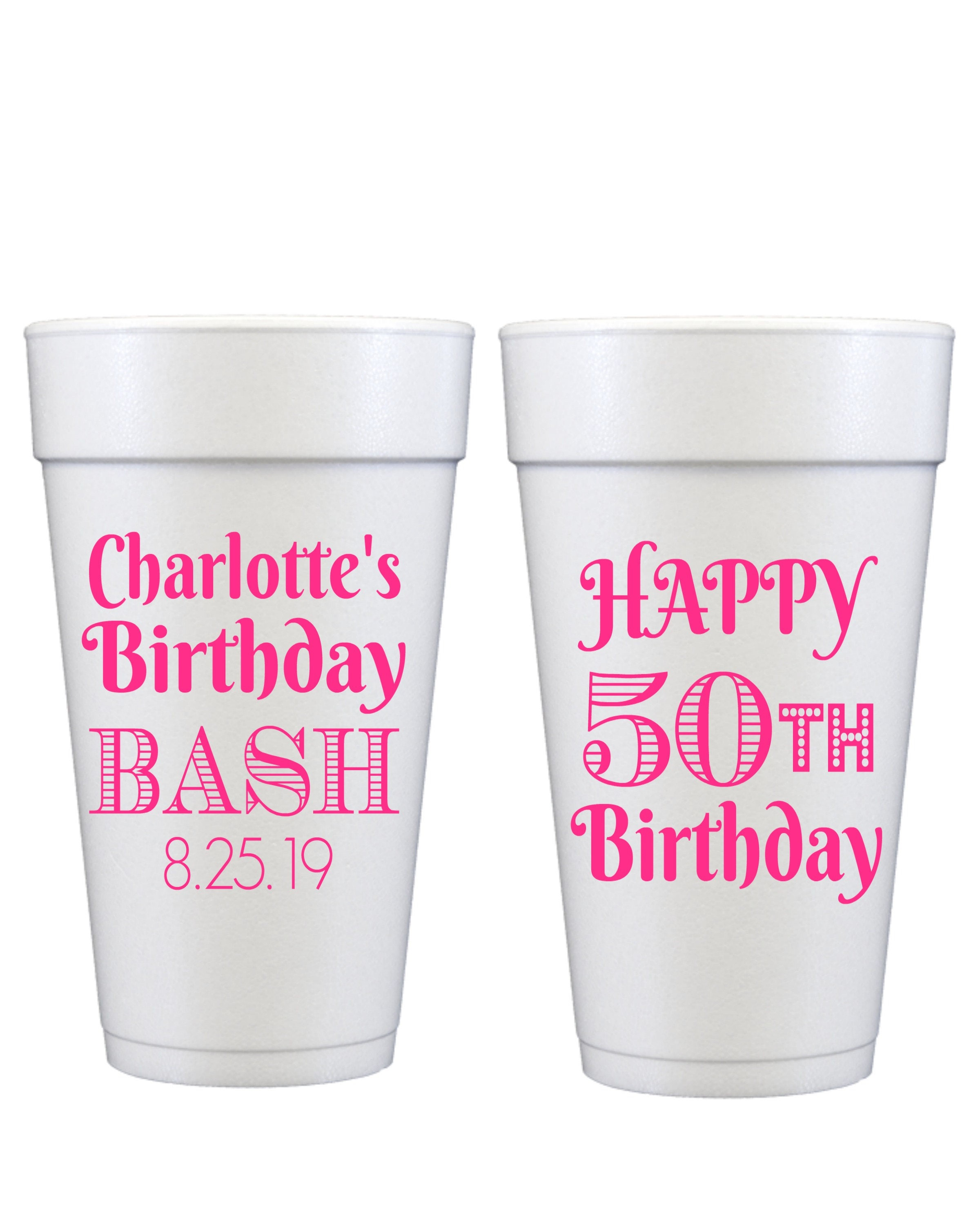 Custom Cups Foam Cups Birthday Party Cups Party Cups