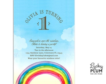 Rainbow Birthday Invitation / Colorful Invite /  First Birthday Invite / Somewhere Over the Rainbow Invite /Modern Sky Invite *Digital file*
