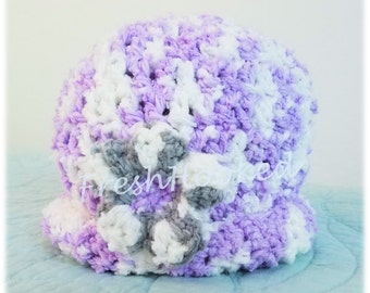 Baby Hat Girl Lavender Super Soft with Flower