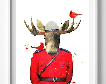 Mountie Moose Print,Canada print,painting,watercolor,art, Christmas Gift, Pic No 119