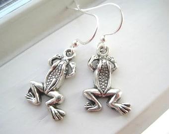 Frog Earrings - Frog Jewelry - Charm Earrings - Silver Frog Earrings - Spring Jewelry - Tree Frog Jewelry