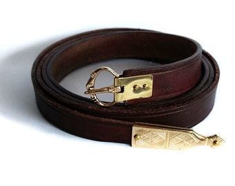 3/4 Inch Medieval Belt With Reproduction Brass Fittings