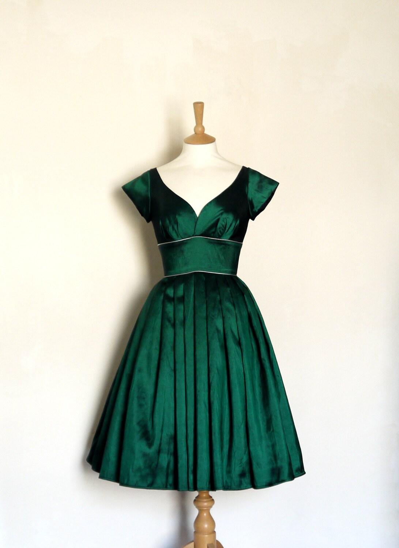 Größe UK 10 Smaragd Taft Party Kleid mit Puffärmeln und Silber