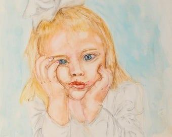 Beautiful Child Original Watercolor