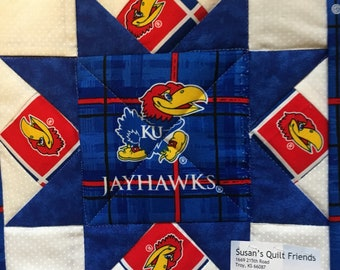 KU Jayhawk pot holder
