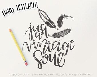 Feather SVG Cut File, Vintage SVG, Feather Clipart, Vintage Soul, Hand Drawn Feather Vector, Silhouette, Cricut, High-Res Feather Graphic