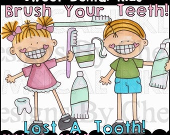 Sweet Dental Kids Clipart Collection- Immediate Download