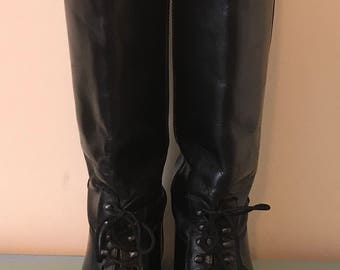 The Rider Italian Made Black Vintage Leather Riding Boots ~ Women's Size 6