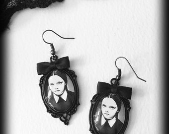 Wednesday Addams Earrings, Gothic Jewelry, Glass Cameo Earrings, Addams Family, Alternative Jewelry, Gothic Gift For Her, Handmade Jewellery