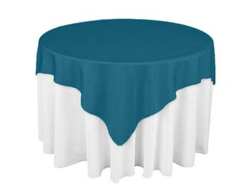 Dark Teal 60 X 60 Square Overlay 100% Woven Polyester Tablecloth For  Banquets, Weddings U0026 Parties