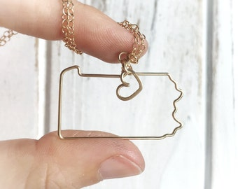 Pennsylvania Necklace - Pennsylvania State Necklace - State Necklace - State Jewelry - Silver or Gold - Home State Necklace