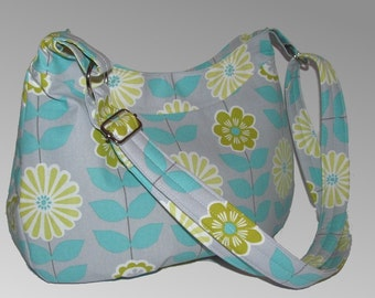 READY to SHIP-Daisy Hobo Purse/Shoulder bag/Cross body-Adjustable strap--Floral
