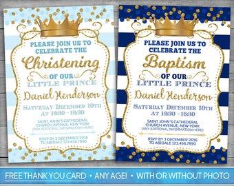 Prince Baptism Invitation   Prince Christening Invitation   Royal Baptism Boy   Baby Blue Gold   Royal Blue Christening   Photo Invitation