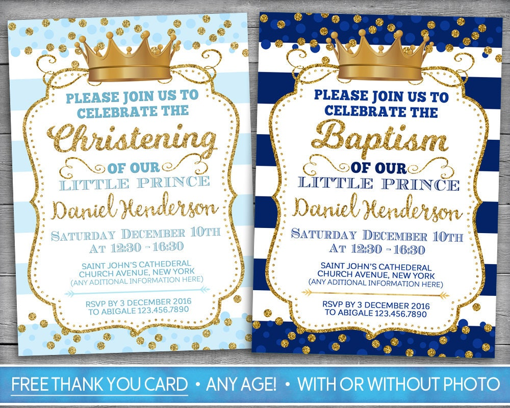 Prince Baptism Invitation Prince Christening Invitation