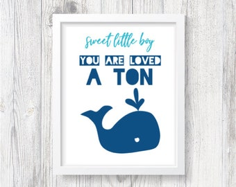 Loved a Ton - Whale Blue [Instant Download, Printable Art]