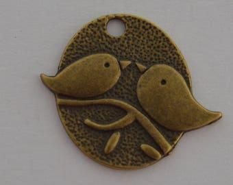 6 birds on branch 24x28mm antique brass pendants