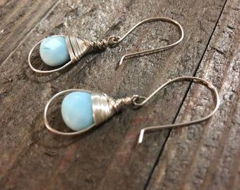 SOLD. Wrapped earrings. Peruvian blue Opal earrings. Sterling Silver.