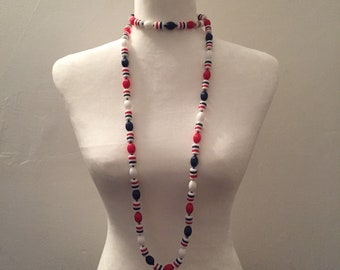 Flapper - Blue Red White - Bold Necklace - Long Necklace - Statement Necklace
